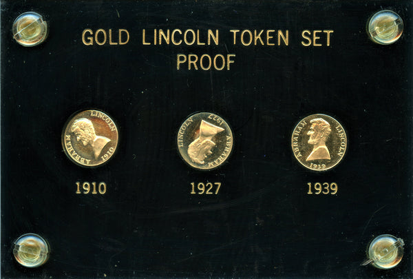 Gold Lincoln Token Mule Set. 1910, 1927,1939 ALL with 1927 Reverse.