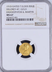 1910 Lincoln Gold. Delorey-47 NGC MS67. Tied for Finest Known. RARE