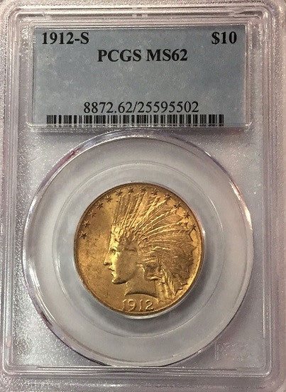1912-S $10.00 Gold Indian PCGS MS62
