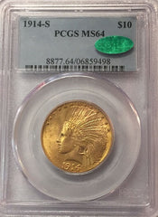 1914-S $10.00 Gold Indian PCGS MS64 CAC