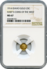 1914 Idaho Gold 25c Harts Coins of The West NGC MS67. Top of the POP