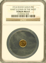 "1914 Idaho 25c NGC MS-67 ""Harts Coins of The West"""
