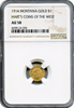 1914 Montana Gold $1 Harts Coins of The West NGC AU 58