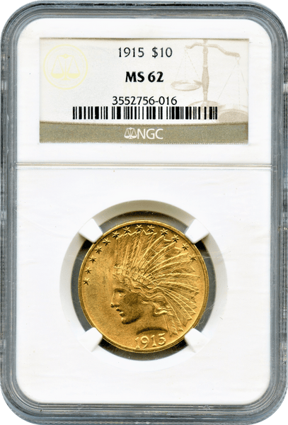 1915 $10 Gold Indian NGC MS62