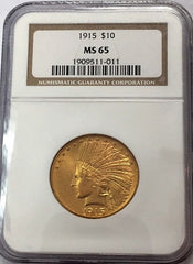 1915 $10.00 Gold Indian NGC MS65