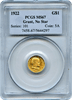 1922 Grant Memorial Gold $1, No Star in Field PCGS MS67