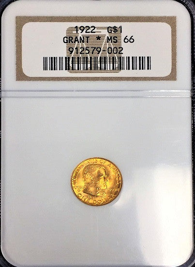 1922 GOLD Grant Memorial (With Star) NGC MS66