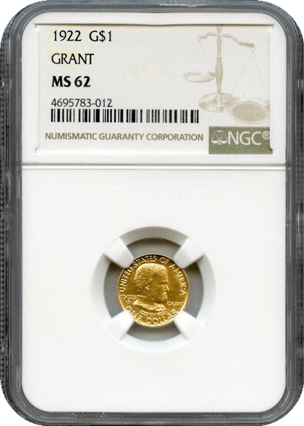 1922 G$1 Grant Commemorative. No Star NGC MS62