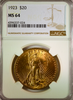 1923 $20 St. Gaudens NGC MS64 Double Eagle