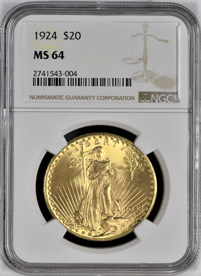 1924 $20 St. Gaudens NGC MS64 (Looks Better Than Most MS66's)