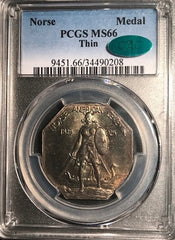 1925 Medal Norse Thin Planchet MS66 PCGS. CAC Mintage 6000 RARE!