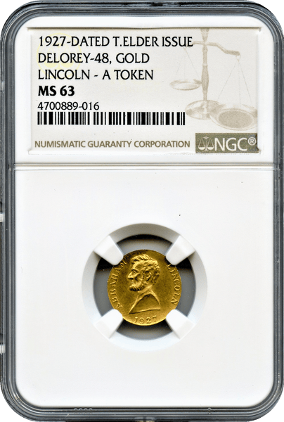 1927 Lincoln Gold. Delorey-48 NGC MS63