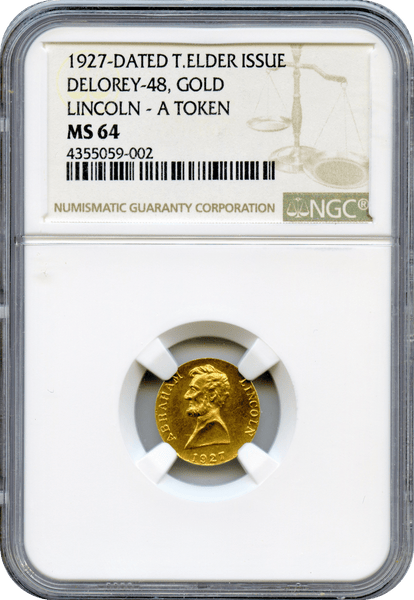 1927 Delorey-48 Lincoln Gold Token NGC MS64