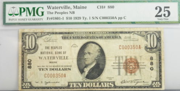 1929 $10 Dollar Maine National Bank Note FR 1801-1 PMG Certified Currency