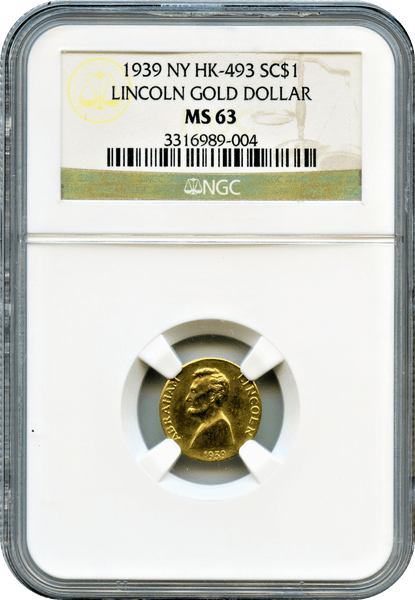 1939 Lincoln Gold Dollar $1 NGC MS63