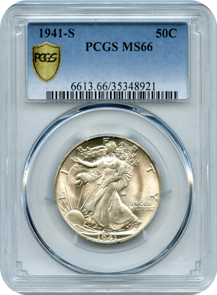 "1941-S Liberty Walking Silver 50c PCGS MS66   ""White & Lustrous"""