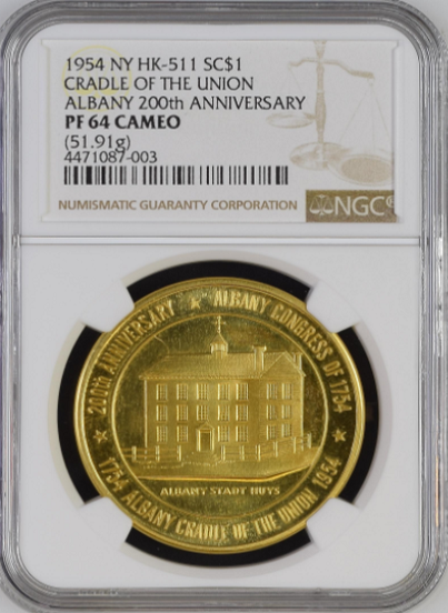 "1954 U.S. Mint CRADLE OF THE UNION SET. Gold Rarity 8 NGC PF64CAM. Silver NGC MS65 ""Only 1 in MS65 and None Higher"""