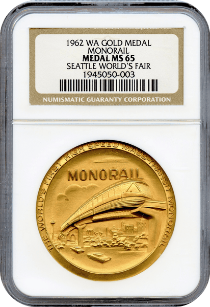 1962 Washington Seatle World's Fair Gold Medal - Monorail NGC MS65 (Mintage 4)