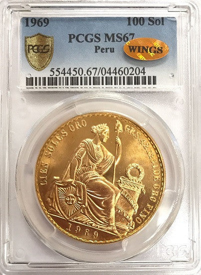 "1969 Peru GOLD 100 SOL PCGS MS67 ""Finest Known"" ""Mintage 540"" ""Over 1.35oz Pure Gold 37mm"" ""Struck in 22k Gold 3mm Thick"" ""Wings Certified"" (World Identification and Numismatic Grading Service). Over 1.489oz of Total Gold"