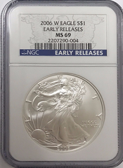 (#173) 2006-W Eagle S$1. Early Releases. NGC MS69