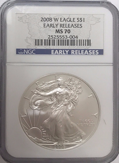 (#175) 2008-W Eagle S$1. Early Releases. NGC MS70
