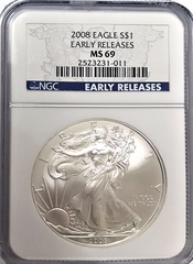(#204) 2008 Eagle S$1. Early Releases. NGC MS69