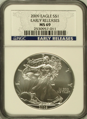 (#209) 2009 Eagle S$1. Early Releases. NGC MS69
