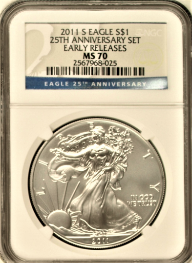 (#144) 2011-S Eagle S$1  25th Anniversary Set. Early Releases. NGC MS70