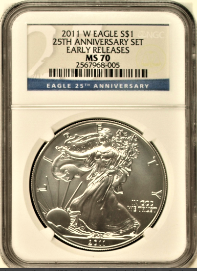 (#143) 2011-W Eagle S$1  25th Anniversary Set. Early Releases. NGC MS70