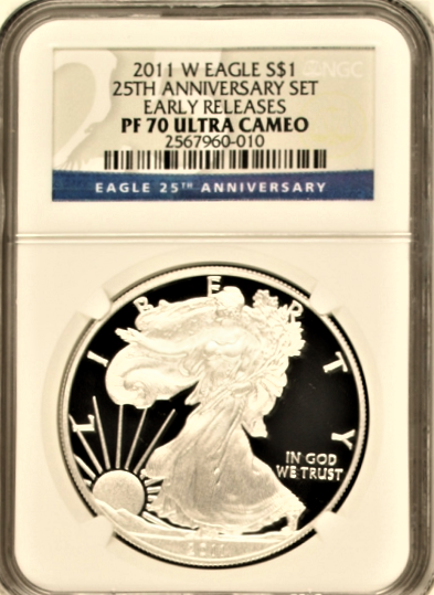 (#146) 2011-W Eagle S$1 25TH Anniversary Set. Early Releases. NGC PF70 UCAM