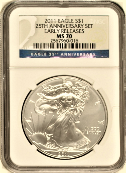 (#145) 2011 Eagle S$1 25TH Anniversary Set. Early Releases. NGC MS70