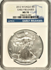 (#177) 2012-W Eagle S$1. Early Releases. NGC MS70 Burnished