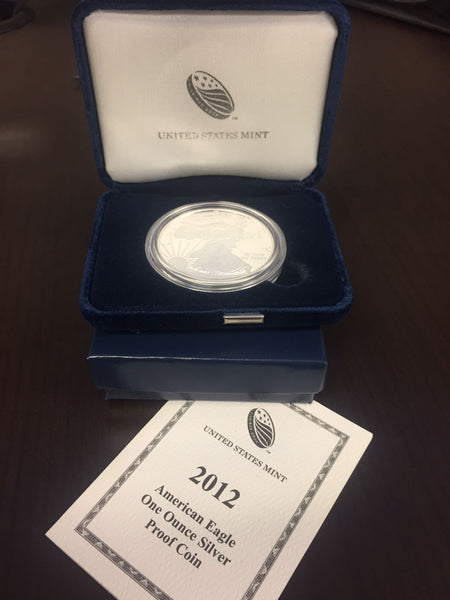 (12) Silver 1oz American Eagle Proof with Box & Papers