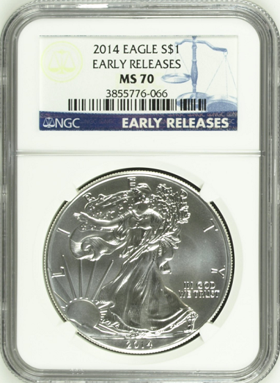 (#9) 2014 Eagle S$1. Early Releases. NGC MS70