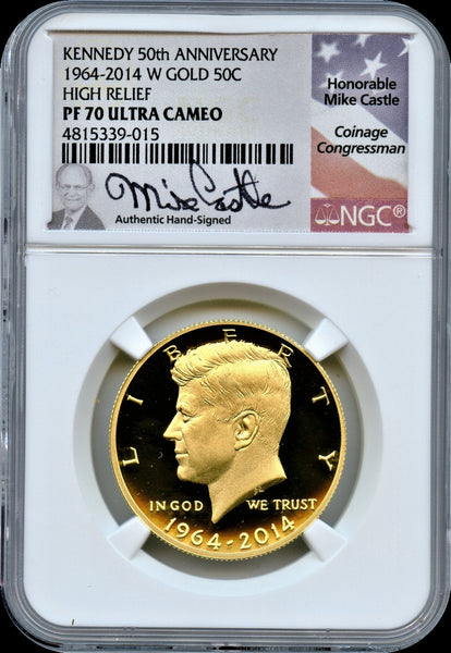 2014W Kennedy 50th Anniv Proof Gold High Relief 50c NGC PF70 Ultra Cameo.