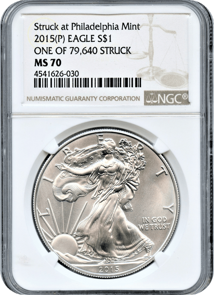 2015 (P) American Eagle Silver $1.00 Struck at the Philadelphia Mint NGC MS70.  One of 79,640 Struck