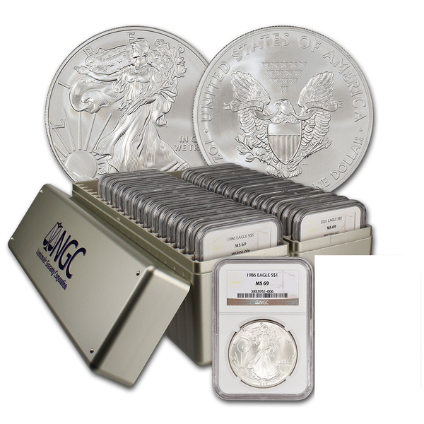 1986 Through 2005 American Silver Eagles. All NGC MS69