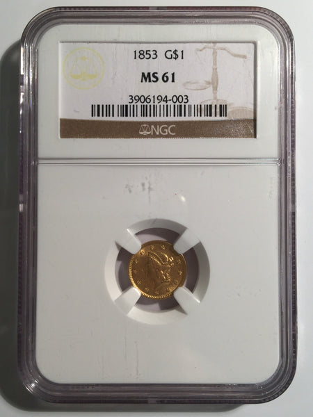 1853 Gold Liberty $1, Type 1 NGC MS 61