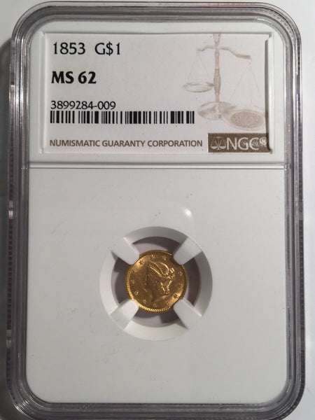 1853 Gold Liberty $1, Type 1 NGC MS 62