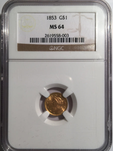 1853 Gold Liberty $1, Type 1 NGC MS 64