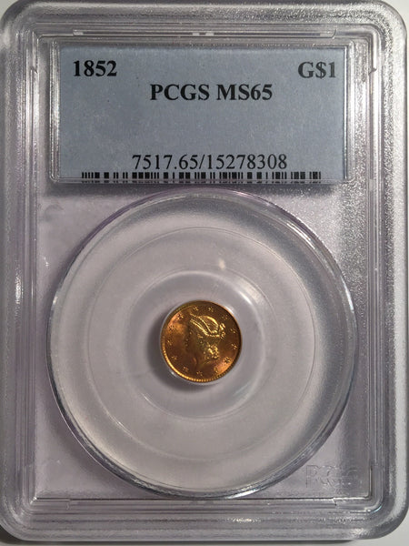 1852 Gold Liberty $1, Type 1 PCGS MS 65