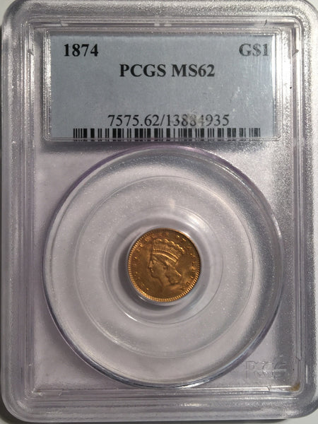 1874 Gold Indian Princes $1, Type 3 PCGS MS 62