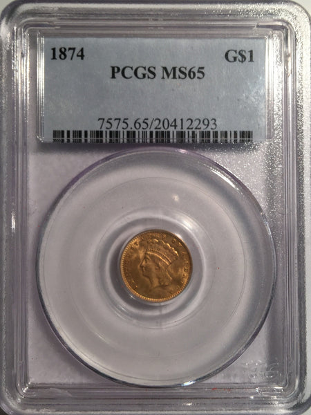 1874 Gold Indian Princess $1, Type 3 PCGS MS 65