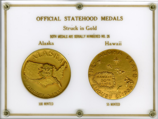 Unique Set. 1959 Alaska-Hawaii Official Statehood GOLD Medals.  Both, Serial #26   Each 64mm
