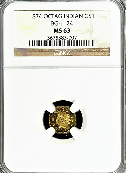 1874 California Octagonal Large Head Indian $1.00 NGC MS 63