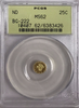 1853 Cal Gold 25c BG-222 Round Small Head Liberty PCGS MS62