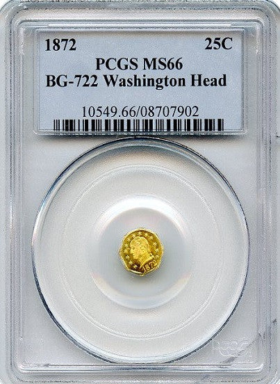 1872 California Fractional GOLD BG-722 Washington Head PCGS MS66   Frontier S.F.