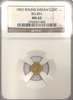 "1852 Cal Gold 25c BG-891 Round Indian NGC MS62. ""Brilliant"""