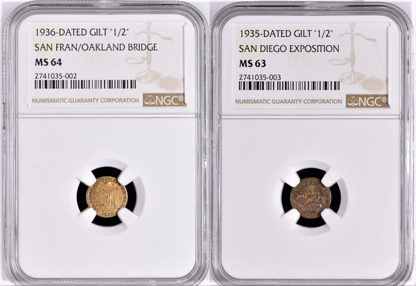 California International Exposition Set. 1935 NGC MS63 1936 NGC MS64