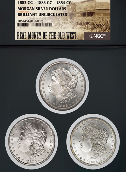 Real Money Of The Old West - 1882-CC 1883-CC 1184-CC SET/NGC